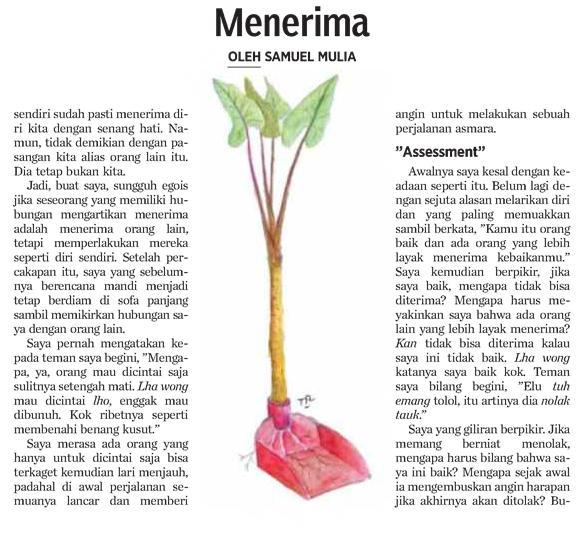 Menerima (Terinspirasi tulisan Samuel Mulia)